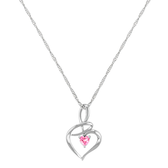 "Heart Shaped Pink Sapphire and Sterling Silver Heart Pendant (18"")"