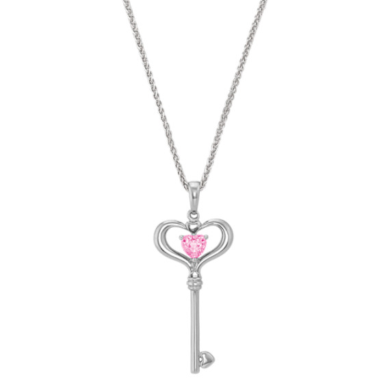 Heart-Shaped Pink Sapphire and Sterling Silver Key Sweetheart Pendant (20)