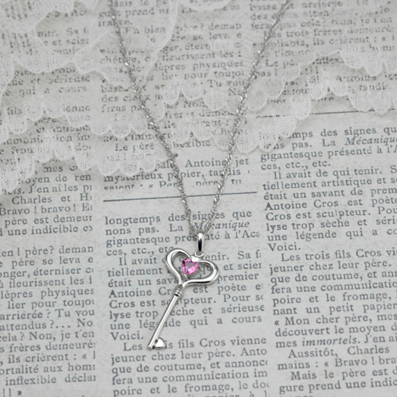 "Heart-Shaped Pink Sapphire and Sterling Silver Key Sweetheart Pendant (20"")"