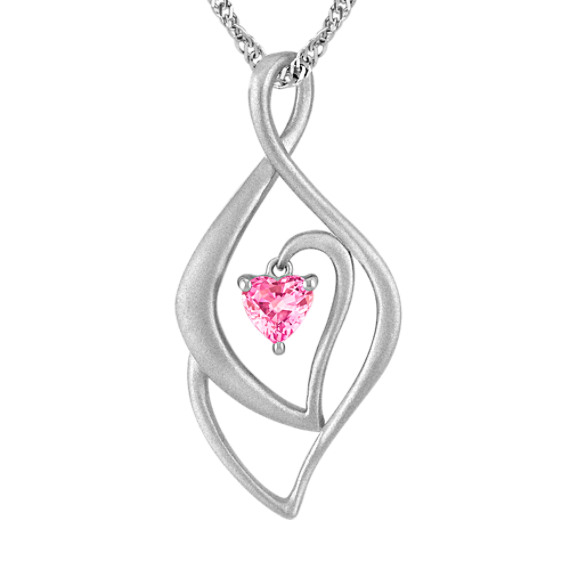 "Heart-Shaped Pink Sapphire and Sterling Silver Pendant (18"")"