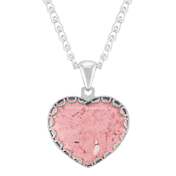 "Heart-Shaped Rhodonite and Sterling Silver Pendant (30"")"