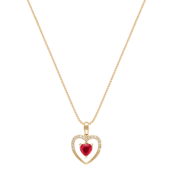 Heart-Shaped Ruby and Diamond Heart Pendant in 14k Yellow Gold (18)