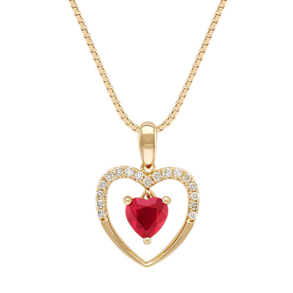 "Heart-Shaped Ruby and Diamond Heart Pendant in 14k Yellow Gold (18"")"