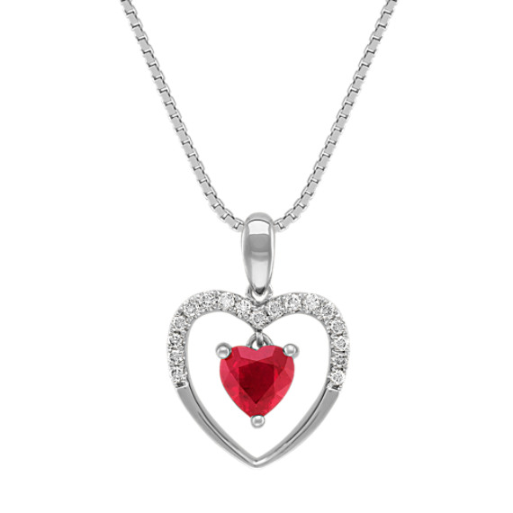 "Heart-Shaped Ruby and Diamond Heart Pendant (18"")"