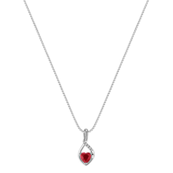 "Heart-Shaped Ruby and Diamond Pendant in Sterling Silver (18"")"