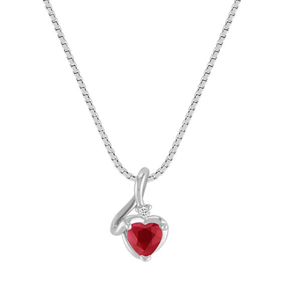 "Heart-Shaped Ruby and Diamond Pendant (18"")"