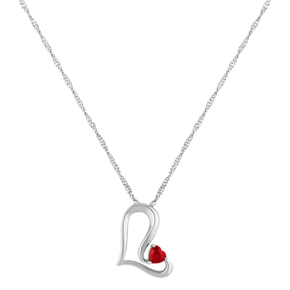 "Heart-Shaped Ruby and Sterling Silver Heart Pendant (18"")"