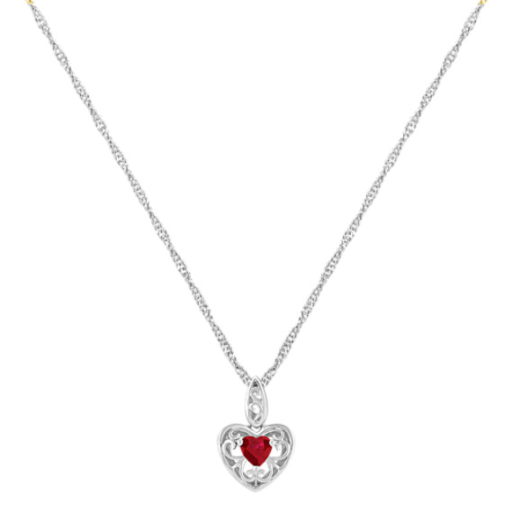 Heart-Shaped Ruby and Sterling Silver Pendant (18)