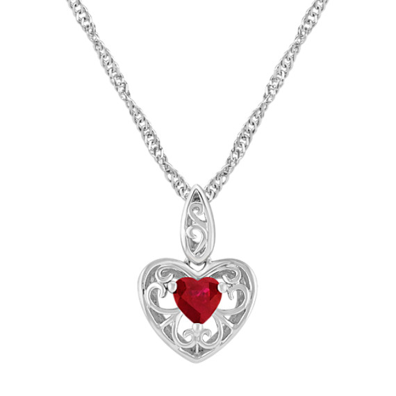 "Heart-Shaped Ruby and Sterling Silver Pendant (18"")"