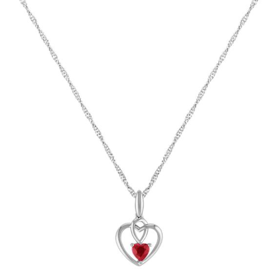 """Heart-Shaped Ruby Heart Pendant in Sterling Silver (20"""")"""