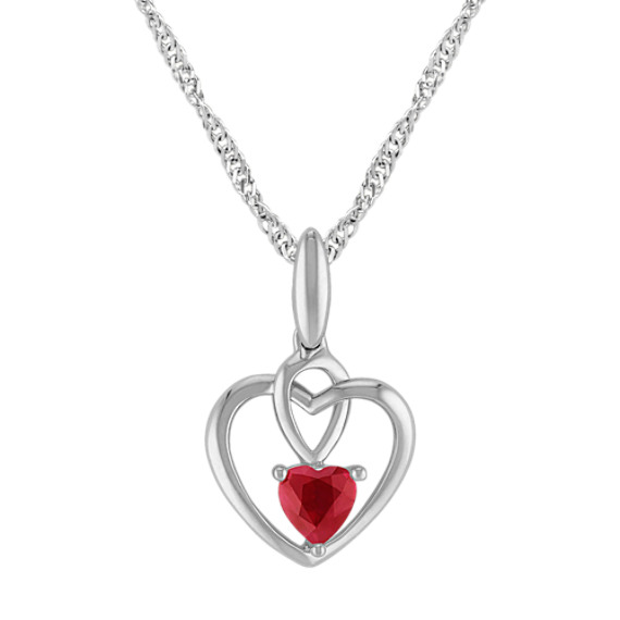 Heart-Shaped Ruby Heart Pendant in Sterling Silver (20)
