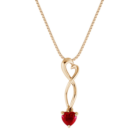 "Heart-Shaped Ruby Heart Pendant (18"")"