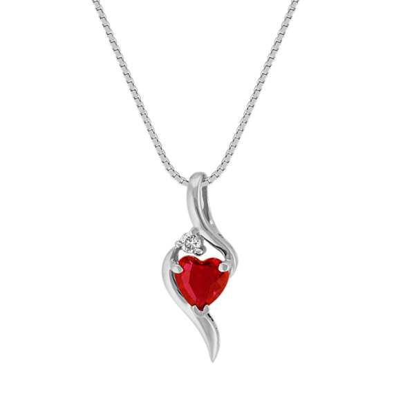 Heart-Shaped Ruby Pendant with Single Diamond Accent in 14k White Gold (18)