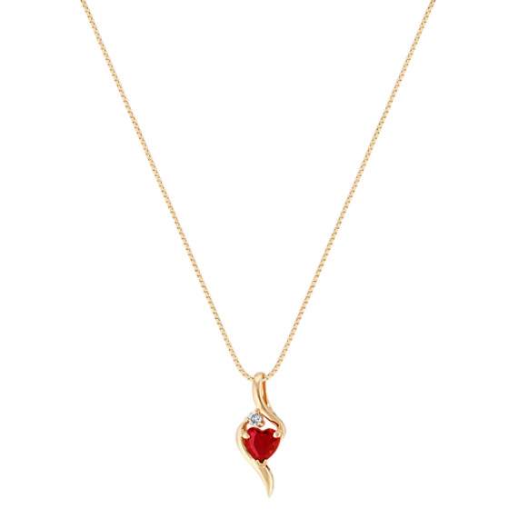 """Heart-Shaped Ruby Pendant with Single Diamond Accent in 14k Yellow Gold (18"""")"""