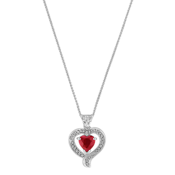 Heart-Shaped Ruby, Shield and Round Diamond Pendant (22)