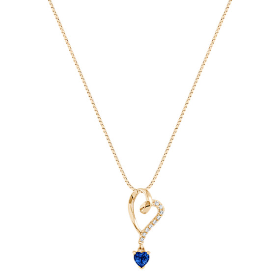 "Heart Shaped Sapphire and Diamond Heart Pendant (18"")"