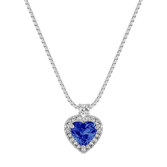 "Heart-Shaped Sapphire and Round Diamond Pendant (18"")"