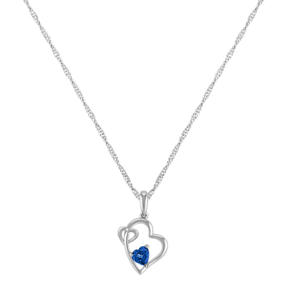 Heart-Shaped Sapphire Double Heart Pendant (20)