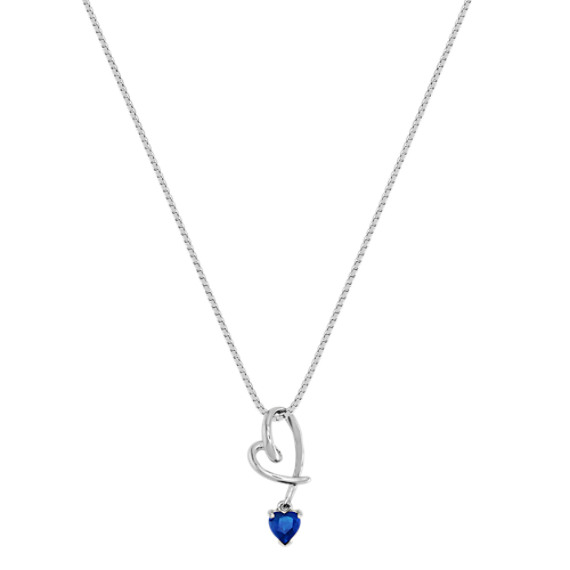 "Heart-Shaped Sapphire Heart Pendant (18"")"