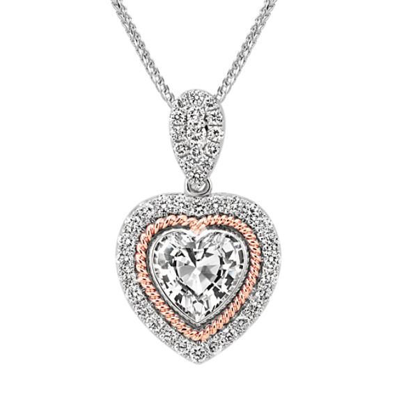 "Heart-Shaped White Sapphire & Round Diamond Pendant in Two-Tone Gold (22"")"