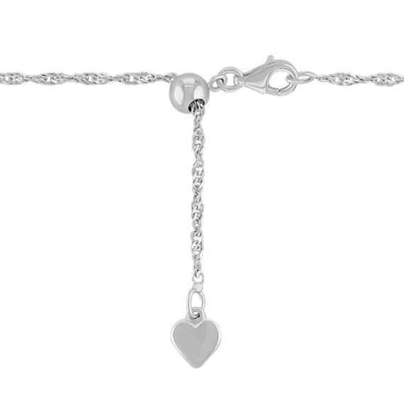 Heart-Shaped White Sapphire Key Sweetheart Pendant in Sterling Silver and 14k Rose Gold (20)