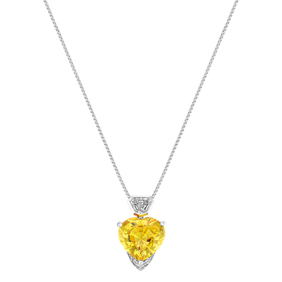 "Heart-Shaped Yellow Sapphire, Shield and Round Diamond Pendant (18"")"