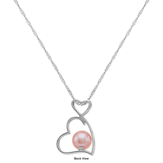 "Heart to Heart 8.5mm Pink Cultured Freshwater Pearl Pendant (18"")"