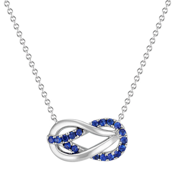 """Interlocking Round Traditional Sapphire Necklace in Sterling Silver (18"""")"""
