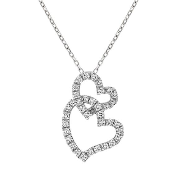 Intertwined Double Heart Diamond Pendant (18 in.)