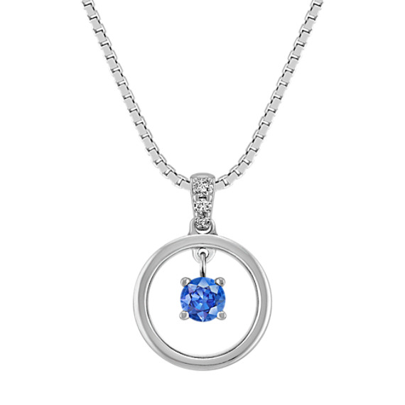 "Kentucky Blue Sapphire and Diamond Circle Pendant in Sterling Silver (18"")"