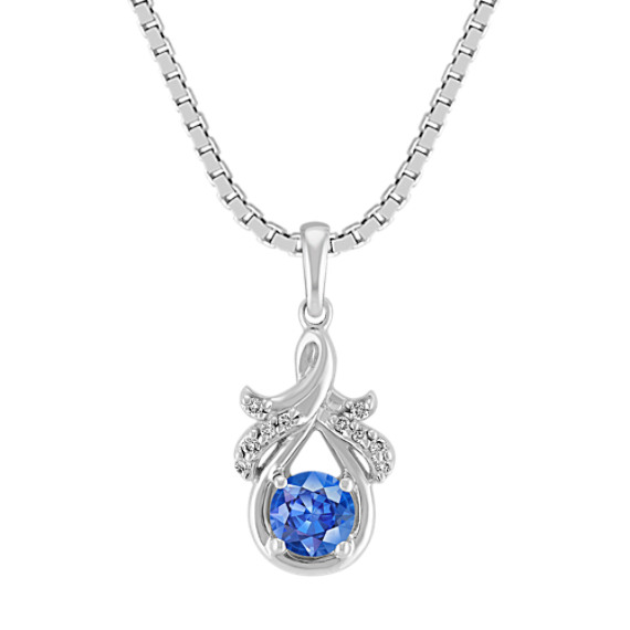 "Kentucky Blue Sapphire and Diamond Pendant in Sterling Silver (18"")"