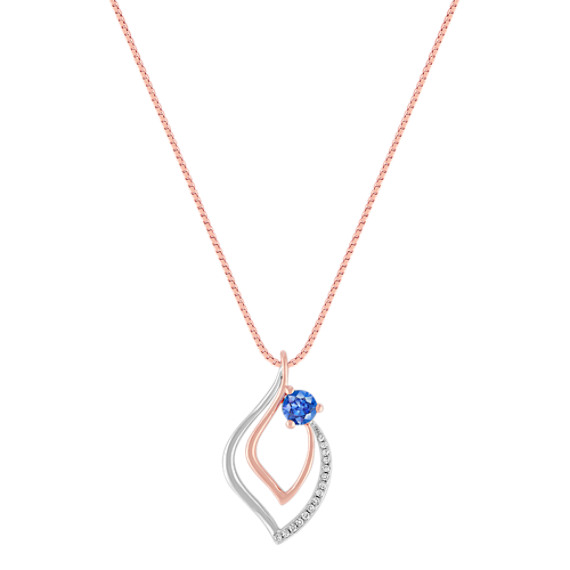 Kentucky Blue Sapphire and Diamond Pendant in Two-Tone Gold (18)