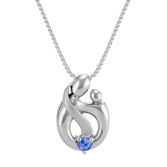 """Kentucky Blue Sapphire Mother & Child Pendant in Sterling Silver (18"""")"""