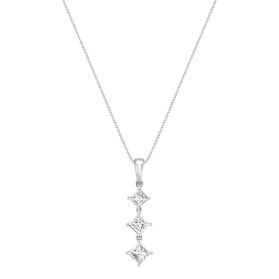 Kite Set Princess Cut Diamond Three-Stone Pendant (18)