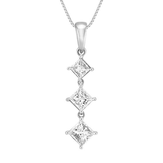 "Kite Set Princess Cut Diamond Three-Stone Pendant (18"")"