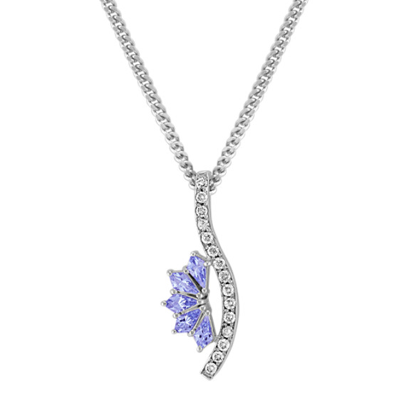 Kite Shaped Ice Blue Sapphire and Round Diamond Pendant (18)