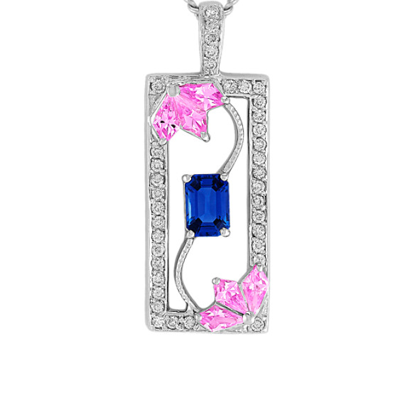 Kite-Shaped Pink Sapphire, Emerald Cut Sapphire, and Round Diamond Pendant (18)