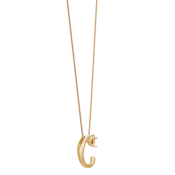 """Letter C Pendant in 14k Yellow Gold (18"""")"""