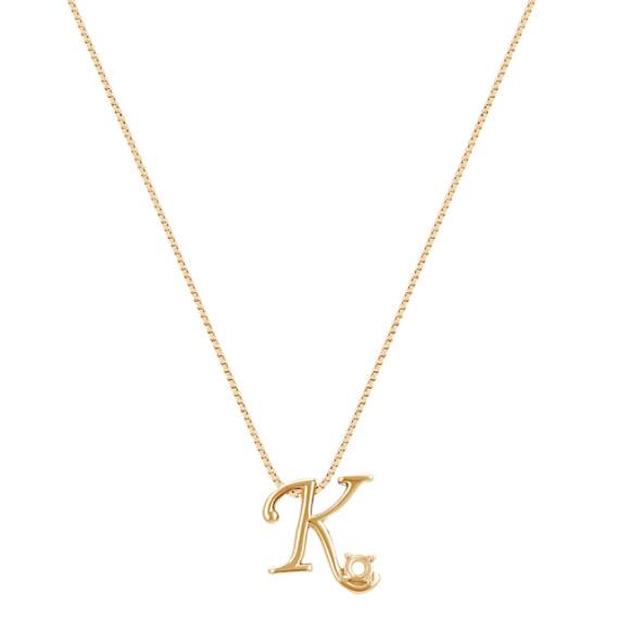 """Letter K Pendant in 14k Yellow Gold (18"""")"""