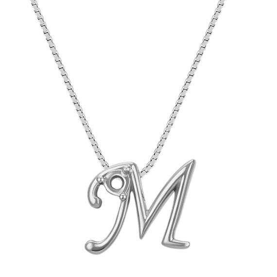 """Letter M Pendant in 14k White Gold (18"""")"""
