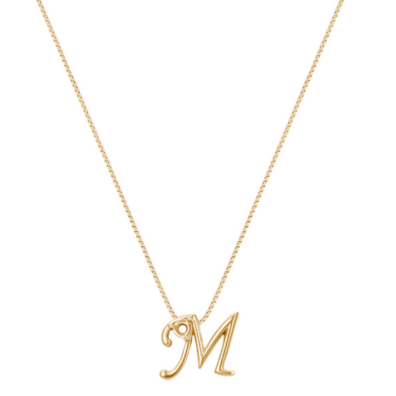 """Letter M Pendant in 14k Yellow Gold (18"""")"""