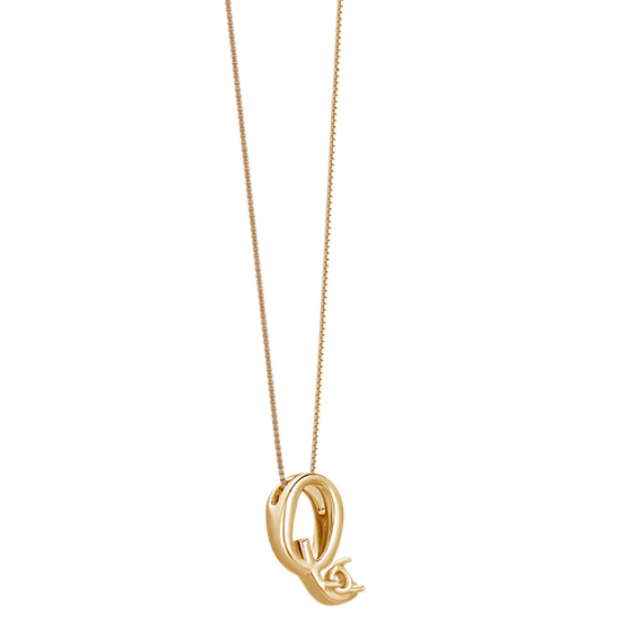 "Letter Q Pendant in 14k Yellow Gold (18"")"