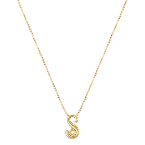 """Letter S Pendant in 14k Yellow Gold (18"""")"""