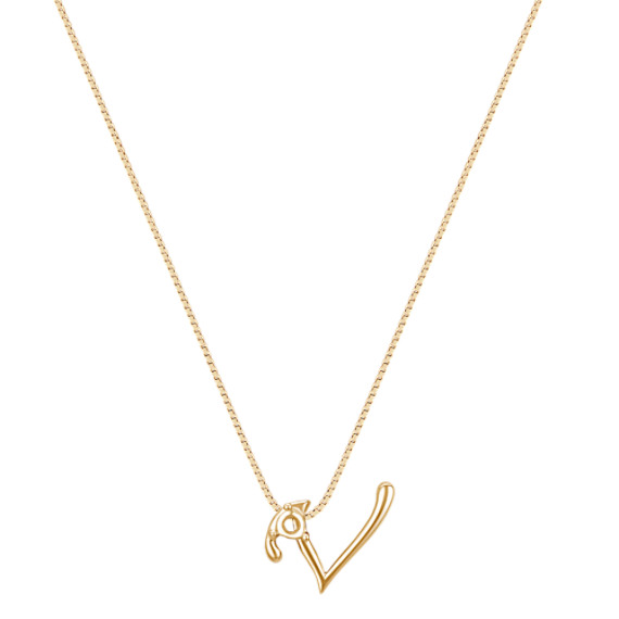 "Letter V Pendant in 14k Yellow Gold (18"")"