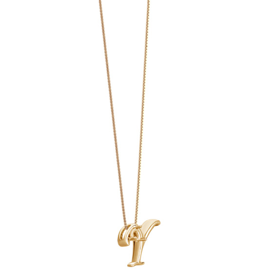 """Letter Y Pendant in 14k Yellow Gold (18"""")"""