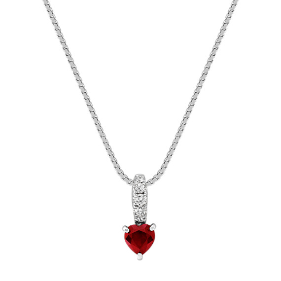 Line of Diamonds to Heart-Shaped Ruby Pendant (18 in.)
