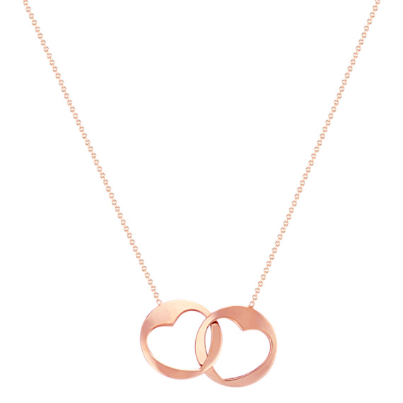 "Linking Circle and Heart Necklace in 14k Rose Gold (18"")"
