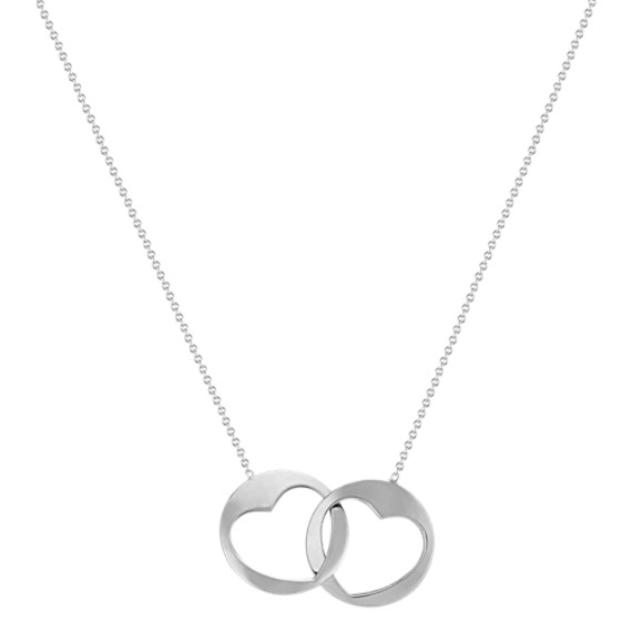 """Linking Circle and Heart Necklace in 14k White Gold (18"""")"""