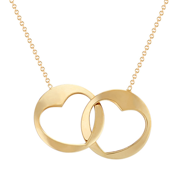 "Linking Circle and Heart Necklace in 14k Yellow Gold (18"")"