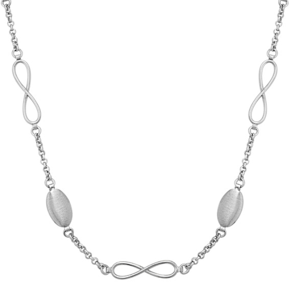 Long Sterling Silver Infinity and Oval Bead Necklace (30 in.)